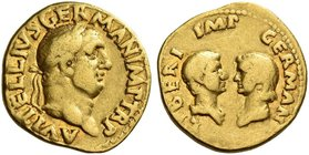 Vitellius, 2nd January – 20th December 69. Aureus late April-20 December 69, AV 6.93 g. A VITELLIVS GERMAN IMP TR P Laureate head of Vitellius r. Rev....