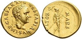 Vespasian, 69 – 79. Aureus, Tarraco (?) late 69 to early 70, AV 7.31 g. IMP CAESAR AVG VESPASIANVS Laureate head r. Rev. MARS – VLTOR Mars advancing r...