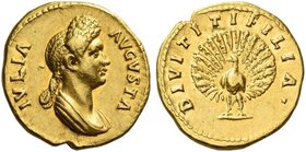 Julia, daughter of Titus. Aureus 88-89 (?), AV 7.62 g. IVLIA – AVGVSTA Draped bust r., hair in dome at top of head and in plait falling at neck. Rev. ...