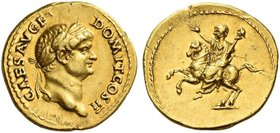 Domitian caesar, 69 - 81. Aureus 73, AV 7.28 g. CAES AVG F – DOMIT COS II Laureate head r. with slight beard. Rev. Domitian on horseback l., raising r...