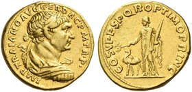 Trajan, 98 – 117. Aureus 103-111, AV 7.32 g. IMP TRAIANO AVG – GER DAC P M TR P Laureate, draped and cuirassed bust r. Rev. COS V P P S P Q R OPTIMO P...