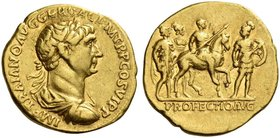 Trajan, 98 – 117. Aureus 113-114, AV 7.11 g. IMP TRAIANO AVG GER DAC P M TR P COS VI P P Laureate, draped and cuirassed bust r. Rev. Trajan on horseba...