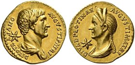 Trajan, 98 – 117. Divus Traianus. Aureus 138, AV 7.17 g. DIVO TR – A – IANO – AVGVSTI PATRI Bare-headed and draped bust of Trajan r.; behind, star. Re...