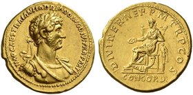 Hadrian augustus, 117 – 138. Aureus 117, AV 7.24 g. IMP CAES TRAIAN HADRIANO AVG DIVI TRA PART F Laureate, draped and cuirassed bust r. Rev. DIVI NER ...