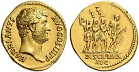 Hadrian augustus, 117 – 138. Aureus 134-138, AV 7.28 g. HADRIANVS – AVG COS III P P Bare head r. Rev. Hadrian advancing r., followed by three soldiers...