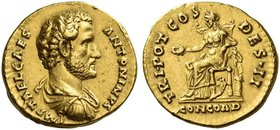 Antoninus Pius caesar, 138. Aureus 138, AV 7.19 g. IMP T AEL CAES – ANTONINVS Bare-headed, draped and cuirassed bust r. Rev. TRI POT COS – DES·II Conc...
