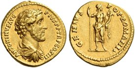 Antoninus Pius augustus, 138 – 161. Aureus 140-143, AV 7.12 g. ANTONINVS AVG – PIVS P P TR P COS III Bare-headed, draped and cuirassed bust r. Rev. GE...