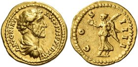 Antoninus Pius augustus, 138 – 161. Quinarius circa 152-153, AV 3.62 g. ANTONINVS – AVG PIVS P P TR P XVI Bare-headed, draped and cuirassed bust r. Re...