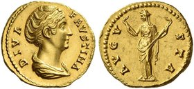 Faustina I, wife of Antoninus Pius. Diva Faustina I. Aureus after 141, AV 7.30 g. DIVA – FAVSTINA Draped bust r., her hair bound with pearls and piled...