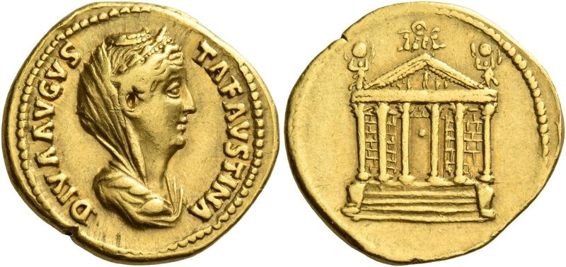 Faustina I, wife of Antoninus Pius. Diva Faustina I. Aureus after 141, AV 7.22 g...