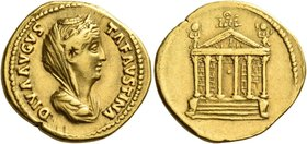 Faustina I, wife of Antoninus Pius. Diva Faustina I. Aureus after 141, AV 7.22 g. DIVA AVGVS – TA FAVSTINA Veiled and draped bust r., hair waved and c...