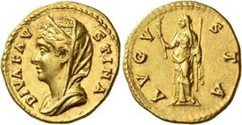 Faustina I, wife of Antoninus Pius. Diva Faustina I. Aureus after 141, AV 6.97 g. DIVA FAV – STINA Draped and veiled bust l. Rev. AVGV – STA Ceres, ve...