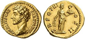 Marcus Aurelius caesar, 139 – 161. Aureus 148-149, AV 7.30 g. AVRELIVS CAE – SAR AVG PII F Bare head l., with drapery on l. shoulder. Rev. TR POT III ...