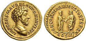 Marcus Aurelius augustus, 161 – 180. Aureus 161, AV 7.30 g. IMP CAES M AVREL ANTONINVS AVG Bare-headed and cuirassed bust r. Rev. CONCORDIAE AVGVSTOR ...