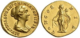 Faustina II, daughter of Antoninus Pius and wife of Marcus Aurelius. Aureus 147-152, AV 6.74 g. FAVSTINA AVG ANTONINI AVG PII FIL Draped bust r. Rev. ...
