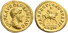 Lucius Verus, 161 – 169. Aureus 162, AV 7.18 g. IMP L AVREL VERVS AVG Bare-headed and cuirassed bust r. Rev. PROFECTIO AVG TR P II COS III Verus on ho...