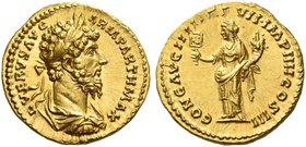 Lucius Verus, 161 – 169. Aureus 166-167, AV 7.31 g. L VERVS AVG ARM PARTH MAX Laureate, draped and cuirassed bust r. Rev. CONG AVG IIII TR P VII IMP I...