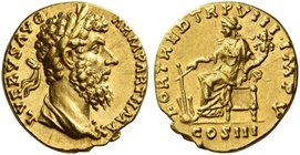Lucius Verus, 161 – 169. Aureus February-December 168, AV 6.24 g. L VERVS AVG – ARM PARTH MAX Laureate head r., with slight drapery on l. shoulder. Re...