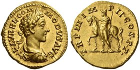Commodus augustus, 177 – 192. Aureus 178, AV 7.27 g. L AVREL COM – MODVS AVG Laureate, draped and cuirassed bust r. Rev. TR P III IM – P II COS P P Ca...