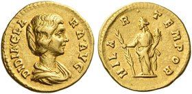 Didia Clara, daughter of Didius Julianus. Aureus March-May 193, AV 6.66 g. DIDIA CLA – RA AVG Draped bust r. Rev. HILA – R – TEMPOR Hilaritas standing...