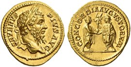 Septimius Severus, 193 – 211. Aureus 209, AV 7.29 g. SEVERVS – PIVS AVG Laureate head r. Rev. CONCORDIA AVGVSTORVM Caracalla and Geta, both laureate a...