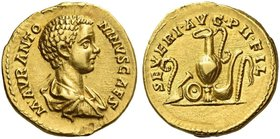 Caracalla caeasar, 195 – 198. Aureus circa 196, AV 7.25 g. M AVR ANTO – NINVS CAES Bare-headed, draped and cuirassed bust r. Rev. SEVERI AVG P I I FIL...