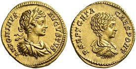 Caracalla, 198 – 217. Aureus circa 201, AV 7.13 g. ANTONINVS – AVGVSTVS Laureate, draped and cuirassed bust of Caracalla r. Rev. P SEPT GETA – CAES PO...