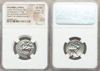 CALABRIA. Tarentum. Ca. early-3rd century BC. AR stater or didrachm (22mm, 7.73 gm, 1h). NGC Choice AU 4/5 - 3/5. Philon and Ey-, magistrates. Nude yo...