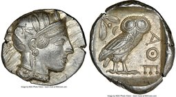 ATTICA. Athens. Ca. 440-404 BC. AR tetradrachm (27mm, 17.21 gm, 11h). NGC MS 5/5 - 4/5. Mid-mass coinage issue. Head of Athena right, wearing crested ...