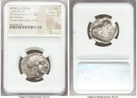 ATTICA. Athens. Ca. 440-404 BC. AR tetradrachm (25mm, 17.18 gm, 7h). NGC Choice AU 5/5 - 5/5. Mid-mass coinage issue. Head of Athena right, wearing cr...