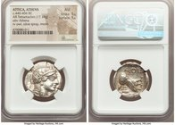 ATTICA. Athens. Ca. 440-404 BC. AR tetradrachm (25mm, 17.19 gm, 9h). NGC AU 5/5 - 5/5. Mid-mass coinage issue. Head of Athena right, wearing crested A...