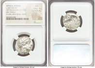 ATTICA. Athens. Ca. 440-404 BC. AR tetradrachm (23mm, 17.17 gm, 6h). NGC AU 4/5 - 4/5. Mid-mass coinage issue. Head of Athena right, wearing crested A...