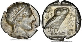 ATTICA. Athens. Ca. 440-404 BC. AR tetradrachm (25mm, 17.05 gm, 8h). NGC AU 4/5 - 3/5. Mid-mass coinage issue. Head of Athena right, wearing crested A...