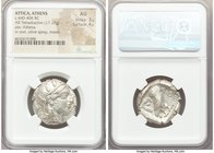 ATTICA. Athens. Ca. 440-404 BC. AR tetradrachm (25mm, 17.17 gm, 10h). NGC AU 3/5 - 4/5. Mid-mass coinage issue. Head of Athena right, wearing crested ...