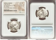 ATTICA. Athens. Ca. 440-404 BC. AR tetradrachm (25mm, 17.11 gm, 5h). NGC Choice VF 5/5 - 4/5. Mid-mass coinage issue. Head of Athena right, wearing cr...