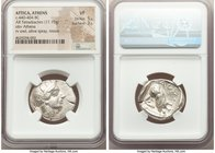 ATTICA. Athens. Ca. 440-404 BC. AR tetradrachm (26mm, 17.15 gm, 9h). NGC VF 5/5 - 3/5. Mid-mass coinage issue. Head of Athena right, wearing crested A...