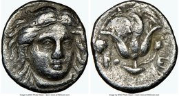 CARIAN ISLANDS. Rhodes. Ca. 305-275 BC. AR hemidrachm (11mm, 12h). NGC VF. Facing head of Helios, turned slightly right / POΔION, rose with single bud...