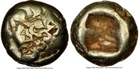 LYDIAN KINGDOM. Alyattes or Croesus (ca. 610-546 BC). EL 1/12 stater or hemihecte (7mm, 1.13 gm). NGC Choice Fine 4/5 - 2/5, countermarks. Sardes mint...