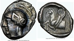 CILICIA. Celenderis. Ca. late 5th-early 4th centuries BC. AR obol (10mm, 9h). NGC Choice XF. Head of Athena left, wearing crested Attic helmet, spiral...