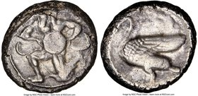 CILICIA. Mallus. Ca. 440-385 BC. AR stater (21mm, 11.14 gm, 2h). NGC Choice VF 3/5 - 4/5. Bearded male, winged, in kneeling/running stance left, holdi...