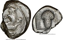 CILICIA. Soloi. Ca. 440-400 BC. AR stater (22mm, 10h). NGC VF. Amazon, nude to waist, on one knee left, wearing pointed cap, bowcase attached to belt,...