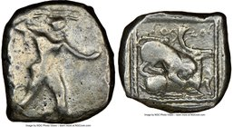 CYPRUS. Citium. Azbaal (ca. 449-425 BC). AR stater (23mm, 4h). NGC Fine. Heracles advancing right, wearing lion skin around shoulders, brandishing clu...