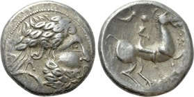 "EASTERN EUROPE. Imitations of Philip II of Macedon (2nd-1st centuries BC). Tetradrachm. ""Audoleon/Vogelreiter"" type."