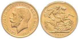 Australia, George V 1910-1936 Sovereign, Melbourne, 1915 M, AU 7.98 g. 917‰ Ref : Fr. 39, KM#29, Spink 3999  PCGS MS63