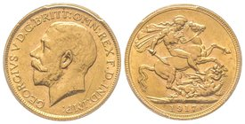 Australia, George V 1910-1936 Sovereign, Melbourne, 1917 M, AU 7.98 g. 917‰ Ref : Fr. 39, KM#29, Spink 3999  PCGS MS62
