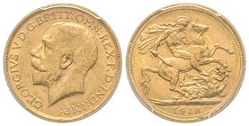 Australia, George V 1910-1936 Sovereign, Melbourne, 1918 M, AU 7.98 g. 917‰ Ref : Fr. 39, KM#29, Spink 3999  PCGS MS62