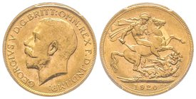 Australia, George V 1910-1936 Sovereign, Perth, 1920 P, AU 7.98 g. 917‰  Ref : Fr. 40, KM#29, Spink 4001  PCGS MS62