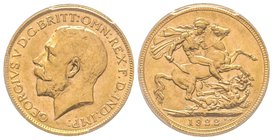Australia, George V 1910-1936 Sovereign, Perth, 1922 P, AU 7.98 g. 917‰  Ref : Fr. 40, KM#29, Spink 4001 PCGS MS61