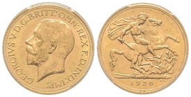 Australia, George V 1910-1936 Sovereign, Perth, 1930 P, AU 7.98 g. 917‰  Ref : Fr. 40, KM#29, Spink 4002 Conservation : PCGS MS64+. Rare