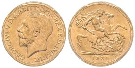 Australia, George V 1910-1936 Sovereign, Perth, 1931 P, AU 7.98 g. 917‰  Ref : Fr. 40, KM#29, Spink 4002  PCGS MS65